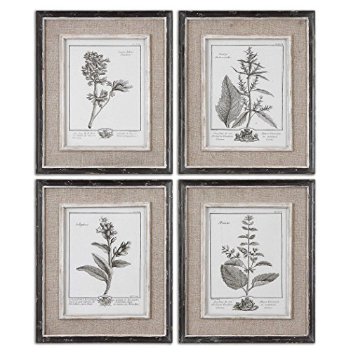 Uttermost' Casual Grey Study Distressed Black Framed Prints (Set of 4) - 32510