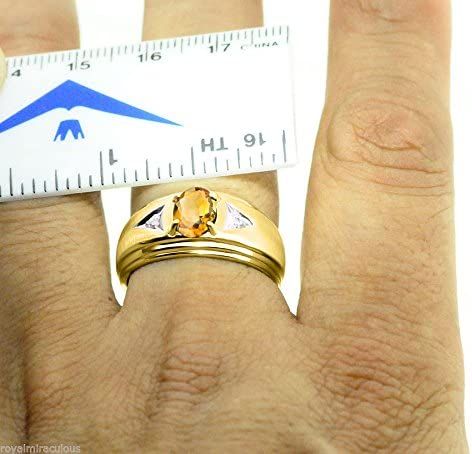 Diamond /& Citrine Ring Sterling Silver or Yellow Gold Plated