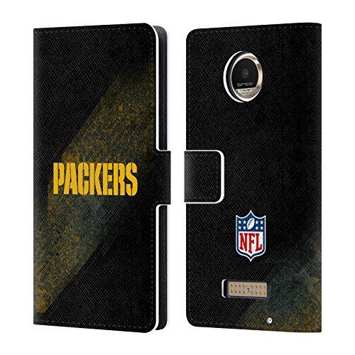 Official NFL Blur Green Bay Packers Logo Leather Book Wallet Case Cover For Motorola Moto Z Play / Moto Z Play Droid