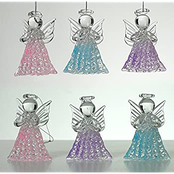 glassangel decorations set of 6 spun glass praying angel decorations pink purple and blue angels glass angel decor - Angel Decorations