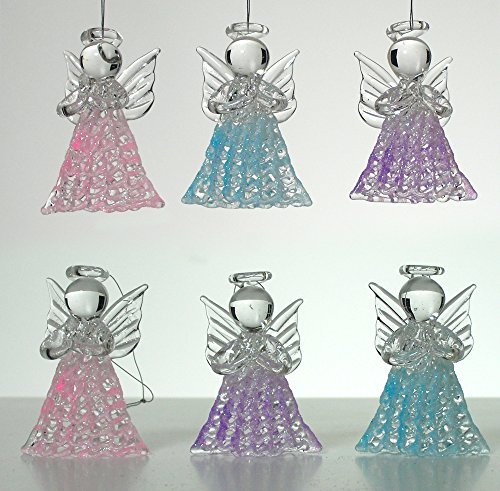 Glass Angel Decorations- Set of 6 Spun Glass Praying Angel Decorations - Pink, Purple and Blue Angels - Glass Angel Decor (Ornament Angel Purple)