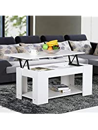 Yaheetech Lift Up Top Coffee Table With Under Storage Shelf Modern Living  Room Furniture (White