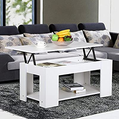 Tinkertonk Modern Wood Lift Up Top Coffee Table With Lower Storage