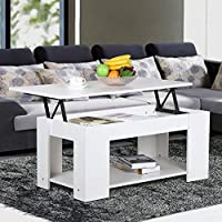 Yaheetech Lift up Top Coffee Table with Under Storage Shelf Modern Living Room Furniture (White)