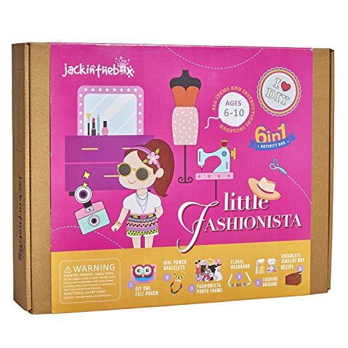jackinthebox Art Craft Kit Girls | Fashion Themed Creative 6 Activities-in-1 DIY Toy | Best Gift Girls Ages 5 6 7 8 9 10 (6-in-1)