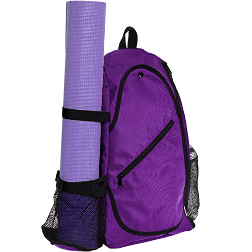 Yoga Backpack by LISH - Adjustable Crossbody Yoga Mat Bag for Travel, Hiking, Biking (Orchid)