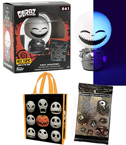 Funko GLo Jack Glow Exclusive Nightmare Before Christmas Dorbz! Bundled with + Tote Bag Pumpkin Heads Skellington Character + Movie Trading Cards Collectible Pack ()