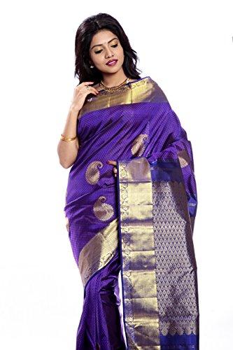Mandakini — Indian Women's Kanchipuram - Handloom - Pure Silk Saree (Magenta ) (MK241) by Mandakini (Image #1)