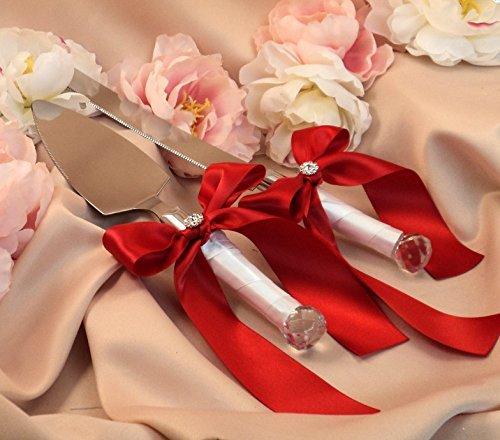 elegantstunning Elegant Wedding Cake Knife with White+Dark Red Ribbon (Red Wedding Cake)