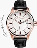 Montegrappa Fortuna Watch, Rose Gold PVD, Silver Dial, Leather Strap
