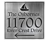 Nautical Anchors Away Address Plaque with Sailboat 14x13 - Recessed Pewter Metal Coated