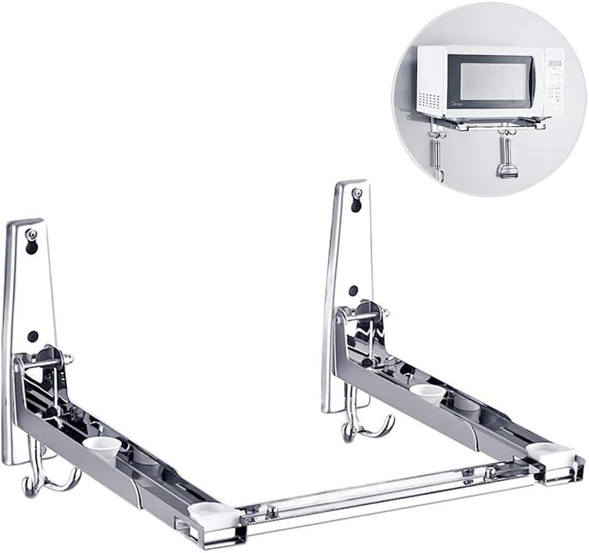 Soporte universal para microondas, ajustable y resistente, acero inoxidable 304, soporte de pared estante para Microondas y horno con dos ganchos, Estilo 2