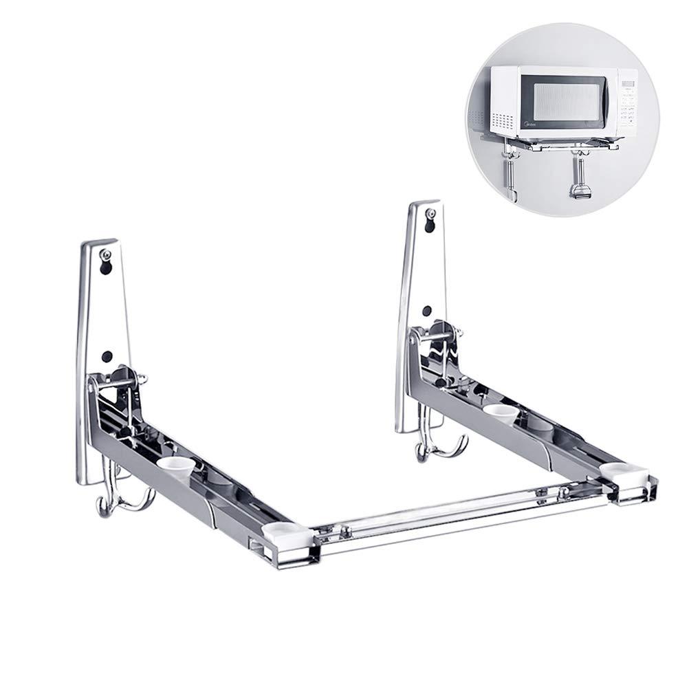 Soporte universal para microondas, ajustable y resistente, acero inoxidable 304, soporte de pared estante para Microondas y horno con dos ganchos, ...