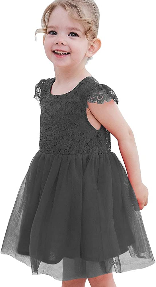 Rysly A-line Lace Back Tutu Tulle Flower Girl Dress Wedding Princess Party Gown