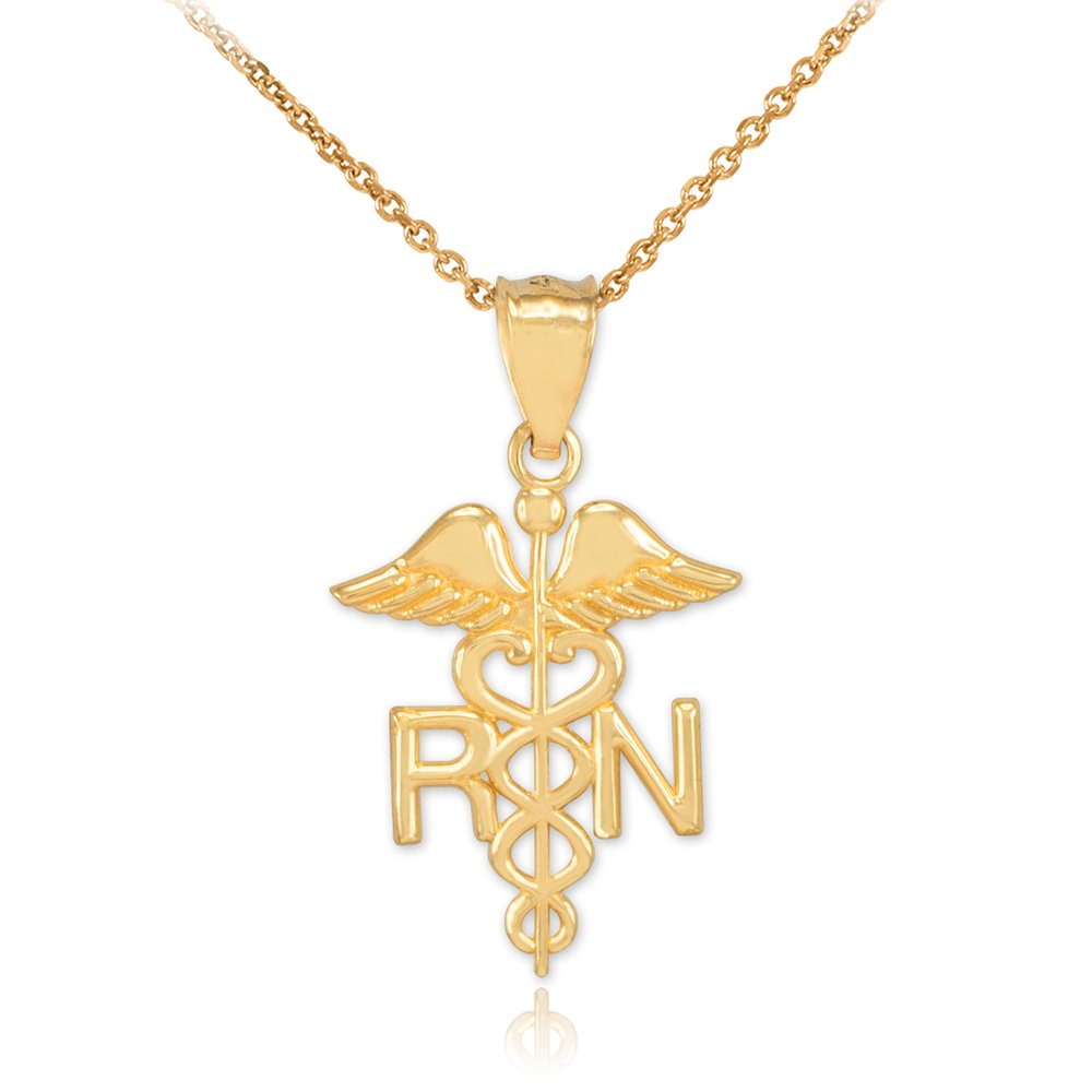 Polished 14k Yellow Gold Caduceus RN Charm Registered Nurse Pendant Necklace, 20''