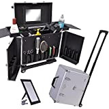 AW Clipper Trimmer Barber Tool Box Rolling Makeup Hair Salon Stylist Train Case Key