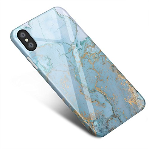 Iphone Blue Silicone Skin - iPhone X Case, iPhone X Marble Case, Jdomall Slim Flexible Soft Silicone Bumper Shockproof Gel TPU Rubber Glossy Skin Cover Case for Apple iPhone X case (2017 Release)(Blue Gold Sierra)