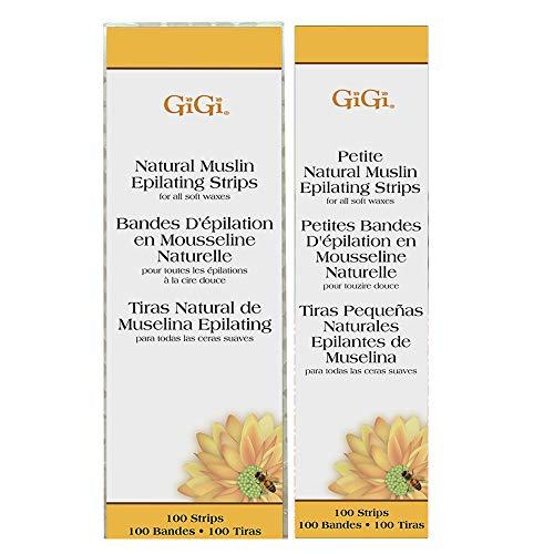 GiGi Petite & Small Muslin Strips 100 Ct Each, 200 - Epilating Strips Natural Muslin