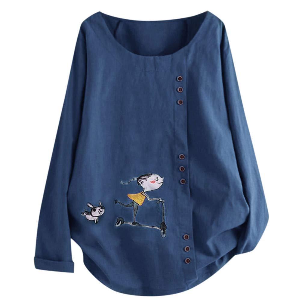 Momoxi Manica Lunga T Shirt Donna Top da Camicetta A Maniche Lunghe con Bottoni Larghi con Stampa O-Collo Casual da Donna Ampia Versione Coreana di Grandi Dimensioni della Parte Superiore del Collo