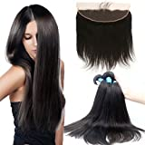 "Uxcell 13x4 Ear To Ear Lace Frontal Closure With 3 Bundles Brazilian Remy Human Hair Weave Extensions 6A Straight(12""12""12""+8"")"