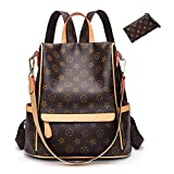 Casual Purse Fashion School Leather Backpack Crossbady Shoulder Bag Mini Backpack for Women & Teenage Girls BLACK BROWN