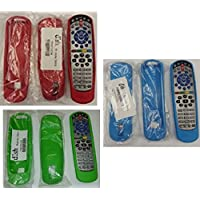(3 Pack) DISH Remote Control Skins, Red/Blue/Green