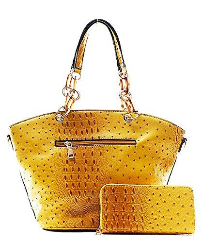 Handbag Inc Ostrich Vegan Leather Hobo Shoulder Handbag and Wallet (Black) by Handbag Inc (Image #4)