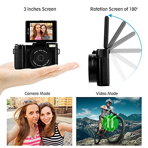 Digital Camera Camcorder Full HD 1080P 24Mp Flip Screen Video Camera 3.0 Inch LCD 4x Digital Zoom Wide Angle Lens Vlogging Camera with Wrist Strap