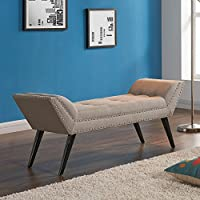 Armen Living LCPOBETA Porter Bench in Taupe Fabric and Black Wood Finish