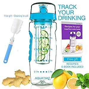 Time Marked Fruit Infuser Water Bottle AQUATIME Large 32 oz - Free Brush for Easy Clean - Convenient to Carry - Leak Proof - FDA Approval BPA free & Eco - Friendly Tritan copolyester Plastic - Blue