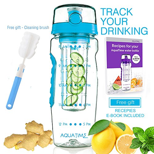 AQUATIME Time Marked Fruit Infuser Water Bottle Large 32 oz - Free Brush for Easy Clean - Convenient to Carry - Leak Proof - FDA Approval BPA free & Eco - Friendly Tritan copolyester Plastic - Blue