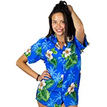 V.H.O Funky Hawaiian Blouse Women Short-Sleeve Front-Pocket Flower Designs Multicolors