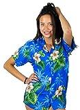 V.H.O. Funky Hawaiian Blouse Shirt, Small Flower, Lightblue, M