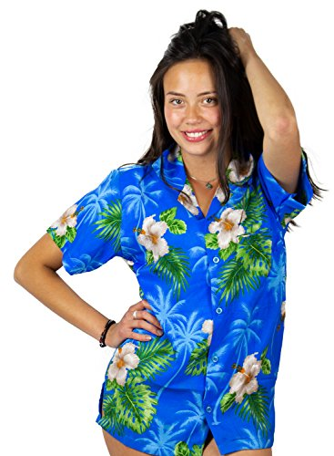 (V.H.O. Funky Hawaiian Blouse Shirt, Small Flower, Lightblue, S)