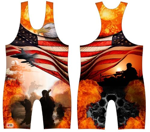 On Patrol, Military Sublimated Wrestling Singlet: Youths and Mens sizes, by 4 Time (S 96-125 lbs.) ()