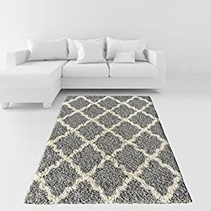 Amazon Com Soft Shag Area Rug 3x5 Moroccan Trellis Grey