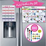 Magnetic Calendar for Refrigerator   Dry Erase Fridge Organizer Whiteboard with Kitchen Grocery List, 3 Fine Markers, 12 Icons & Eraser - 18 Pcs Set Recyclable   Smart Family Monthly & Weekly Planner