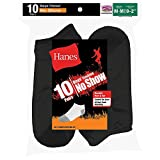 10-Pack Hanes Boys Red Label Cushion No Show P10 - Black 424/10, Black, M