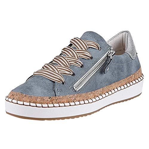 (Malbaba - Mocasines con cordones de lona para mujer y zapatos sin cordones Pisos para conducir Caminar zapatos de suela blanda informal)