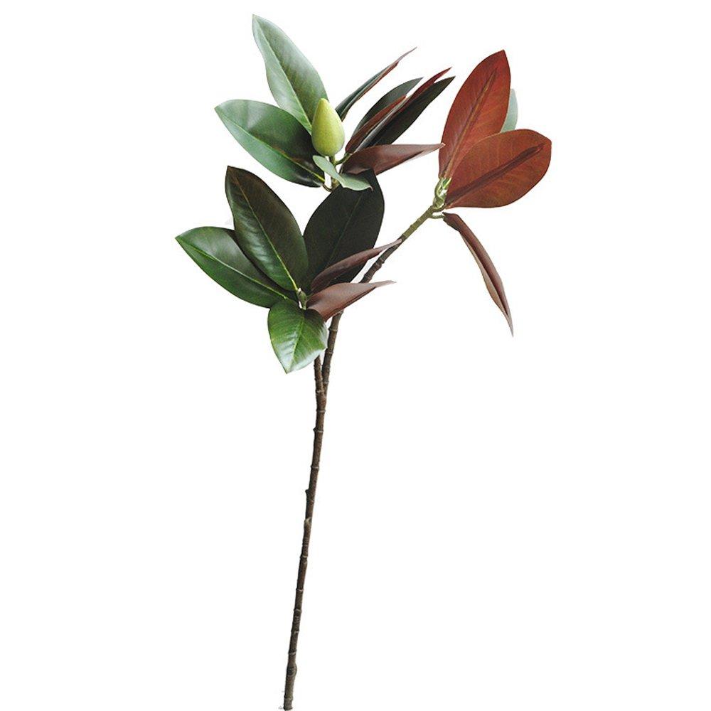 Li Hua猫人工花2フォークLarge Magnolia 3フォークマグノリアブランチシミュレーション緑色植物フェイク花手動ホーム装飾 グリーン B07F1JS9JH Magnolia Branch