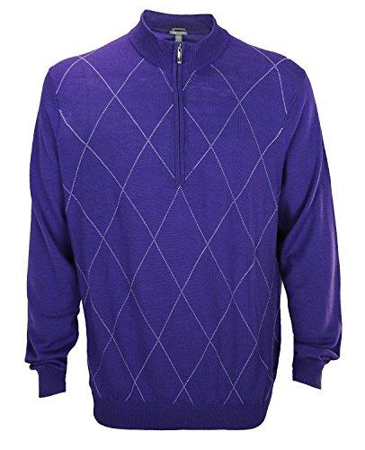 Ashworth Men's Diamond Merino Wool Half Zip Sweater (2XL, Blue Violet)