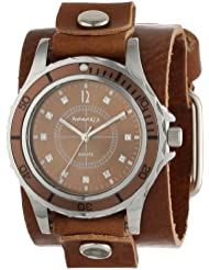 Nemesis Womens BGB092B Brown Collection Stone Encrusted Leather Band Watch
