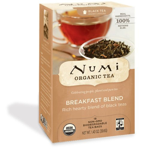 Numi Organic Tea Fair Trade Breakfast Blend, Black Tea, 18-Count Tea Bags
