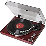 TechPlay TCP4530 Analog Turntable with Built-in Phono Pre-amplifier, By-Pass selecter, Auto-Return, Aluminum Platter and direct PC Link, with Audio-Technica's AT95E Cartridge (Piano Cherry, 1)