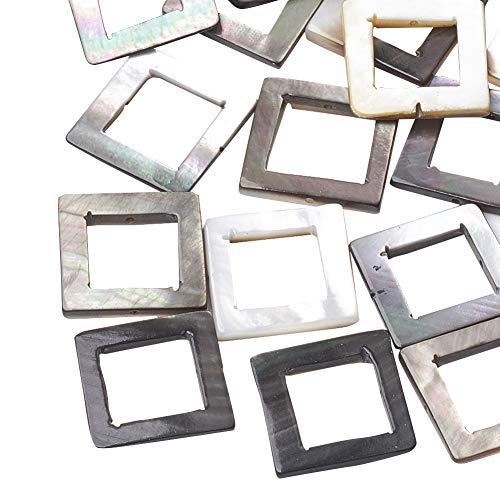 (PandaHall 50 pcs Square Natural Black Lip Shell Beads for Earring Bracelet Necklace Jewelry Making)