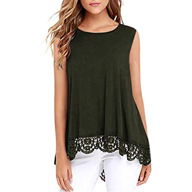 34579748e75ee1 Charberry Womens Tops !Women Lace Sleeveless White Shirt Casua Print Top  Loose Cotton Blouse