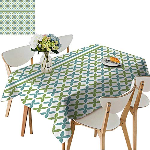 UHOO2018 100% Polyester Tablecloth Overlapping Chain Mail Circle Pattern with Modular Geometric tessellating Round Shapes Square/Rectangle Multicolor,52 x 70inch