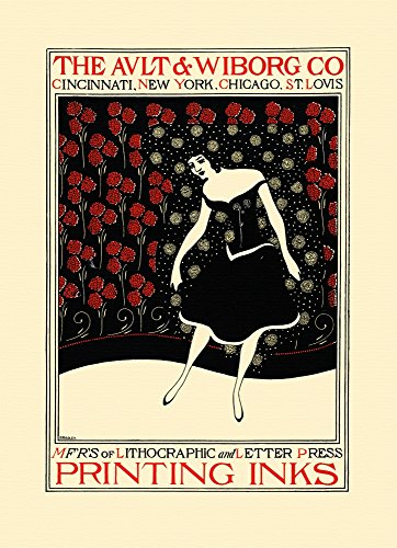 (A woman in a simple dress almost disappears in front of a curtain of flowers on this sample printing by a company that makes printing inks for publications Poster Print by Will Bradley (18 x 24) )