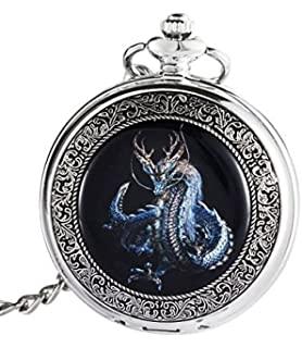 ShoppeWatch Dragon Pocket Watch with Chain Mechanical Hand Wind Up Steampunk Skeleton Dial Silver Tone Case