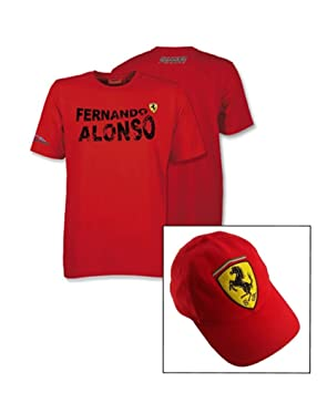 Camiseta y gorra Ferrari F1 Team Nombre de Fernando Alonso Logo Rojo Rojo  rosso Talla  2a26a50b88b